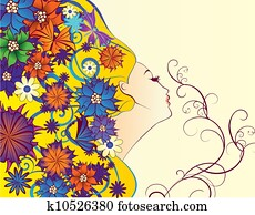 vector spring woman fantasy profile with flowers