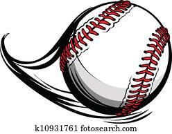 vektor, abbildung, von, schlagball, oder, baseball, mit, bewegung, bewegung, linien