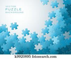vektor, hintergrund, gemacht, von, blau, puzzlesteine