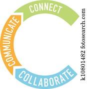 verbinden, zusammenarbeiten, kommunizieren, pfeile