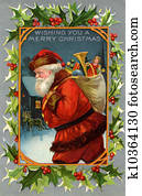 Vintage Christmas card of Santa Claus and a sack full of gifts