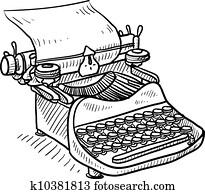 Vintage manual typewriter sketch
