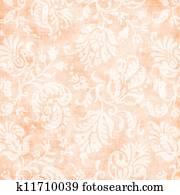 Vintage Pale Peach Floral Tapestry