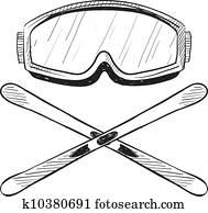 Water skiing equipment sketch