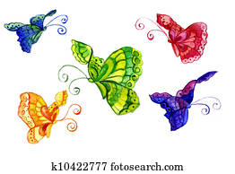 watercolors of the butterfly of the miscellaneous colour