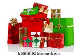 weihnachtsbaum und geschenke freigestellt wei stock. Black Bedroom Furniture Sets. Home Design Ideas
