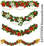 weihnachtsgirlanden, von, stechpalme, 2