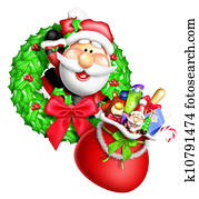 Whimsical Cartoon Santa Wreath