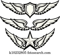Wings and Badge Emblem Vector Images