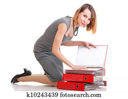 Woman Overworked Businesswoman Holding Plenty Of Documents