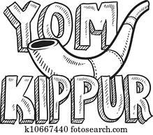 Yom Kippur Jewish holiday sketch