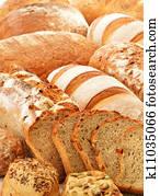 zusammensetzung, mit, bread, und, br?tchen