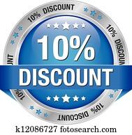 10 percent discount blue button