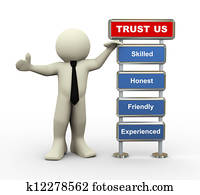 3d businessman trust us