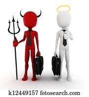 3d man businessman angel and demon