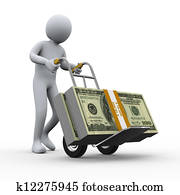3d man with money hand truck