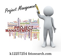 3d person and project management word tags