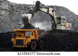 a big yellow mining truck