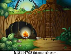 A camp fire in a cave