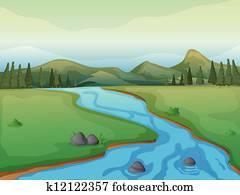 a, river,, a, wald, und, bergwelt