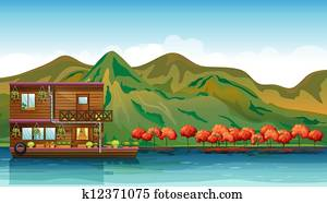 A river and a boat house