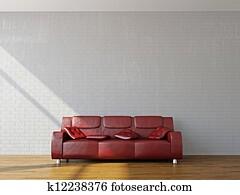 A room interior with sofa