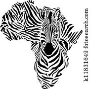 Africa in a zebra camouflage