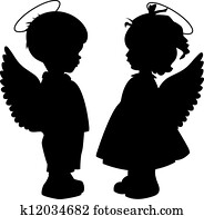 Angel silhouettes set