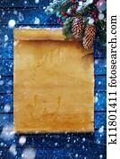 art Christmas background, snow covered paper scroll