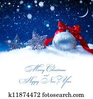 art snow christmas decoration magic lights background