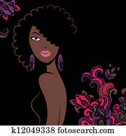 Beautiful african american woman silhouette with a flowers