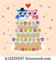 bird bride & groom on wedding cake