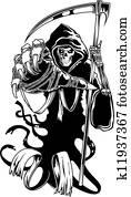 Black death with scythe