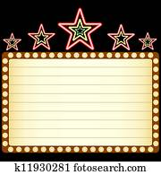 Blank movie, theater or casino marquee with neon stars above