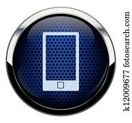 blau, wabe, telefon- ikone
