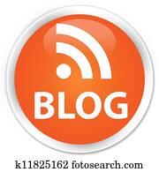 Blog (rss news) icon orange button