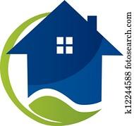 Blue house and leaf logo vector