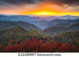 blue ridge parkway, herbstliche, appalachen, sonnenuntergang, westliche, nc, landschaftlich, landschaft, ferien- bestimmungsort
