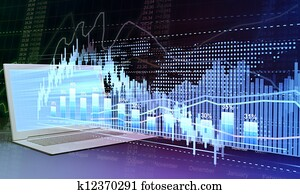 Business and stock trading. Laptop and business graphics statistics and analytics, technology of the future