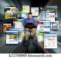Business Man Surfing Internet Web Sites