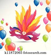 Carnival Mask and Balloons
