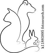 Cat, dog, rabbit and bird