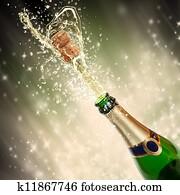 Celebration theme with splashing champagne