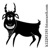 Cheerful goat, black silhouette