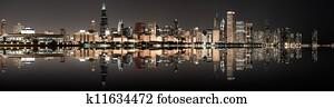 Chicago panoramic skyline at night