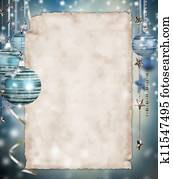 Christmas background with blank paper