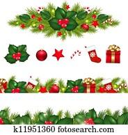 Christmas Borders Set With Xmas Garland