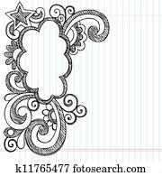 Cloud Sketchy Doodle Picture Frame