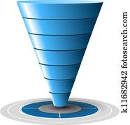 Conversion or sales funnel easily customizable, from 1 to 7 levels plus on target, vector graphics. Blue tones.