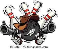 cowboy, bowling kugel, karikatur, shootout